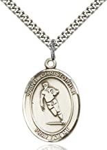Sterling Silver Catholic Saint Sports Athlete Medal Pendant, 1 Inch