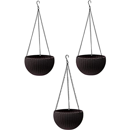 Tex Homz Hanging Baskets Rattan Waven Flower Pot Plant Pot with Hanging Chain for Houseplants Garden Balcony Decoration - 3 Pcs Black Color