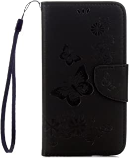 Flip Case Cover For Samsung Galaxy S5 SC-04F SCL23 i9600 Big Butterfly Pattern PU Leather Wallet Card Slot Case-Black