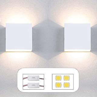 Apliques Pared led Set 2 uds con repuestos de Driver y Leds Forma Cuadrada 6W Aplique Pared Interior Salon Dormitorio pasillos Negocios lampara Pared Color Blanco luz Calida