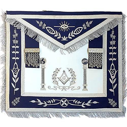 Navy Blue Apron Master Mason Square G & Pillars Freemasons Silver Fringe