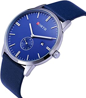 Hotsale! NORTH Stainless Steel Calendar Sub dial Leather Men's Business Quartz Wrist Watch (Blue)