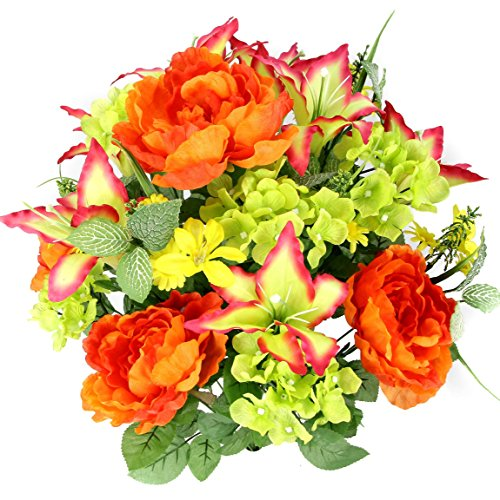 Admired By Nature Artificial Tiger Lily, Peony & Hydrangea Foliage Mixed Flowers Bush, 24 Stems for Memorial Day, Cemetery Floral Home, Restaurant, Office & Wedding Decor -YW/Orange/Velvet/Kiwi