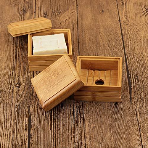 Wyi Jabonera de bambú con tapa, soporte de madera con orificio de drenaje, caja de almacenamiento de jabón con tapa para ducha, cocina, baño, viajes