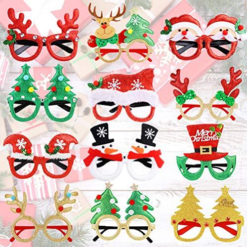 Joyibay 12 Paia Occhiali di Natale Occhiali da Festa Simpatico Cartone Animato Assortito Bicchieri...