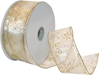 Morex Ribbon Snowflake Wired Sheer Glitter Ribbon, 2-1/2-Inch by 50-Yard Spool, Ivory/Gold (7405.60/50-004)