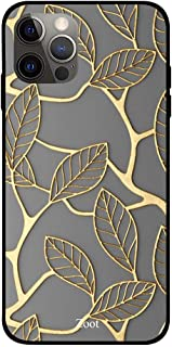 ZOOT Premium Quality Design Printed Case cover for IPhone 12 pro max 6.7 Inch Gold Matelic Leaf Pattern,Slim fit Clear Pro...