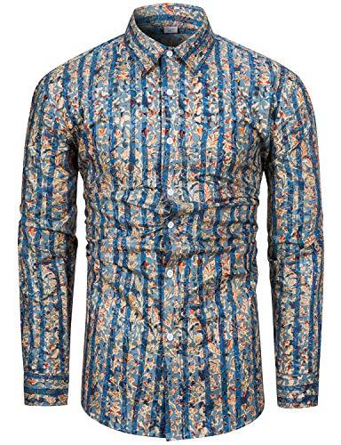 fohemr Camisa de Manga Larga con Estampado Floral para Hombre Casual 100% algodón