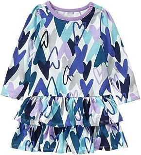 Gymboree Little Girl's Scribble Heart Ruffle Long Sleeve Dress, 4T