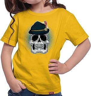 HARIZ Mädchen T-Shirt Totenkopf Mit Wiesnhut Oktoberfest Party Tracht Dirndl Lederhose Plus Geschenkarte