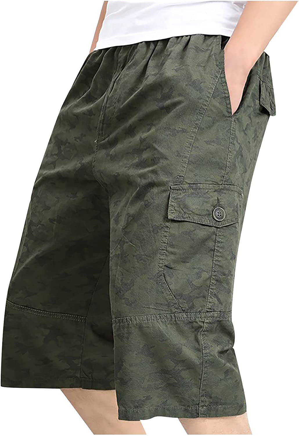 EseFGJK Men's Relaxed Printed Workwear Sports Shorts,Casual Loose Pants with Zipper Button Pocket Cargo Short
