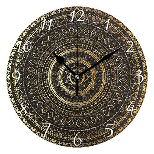 Ahomy Runde Wanduhr mit indischem Mandala, Hausdekoration, kein Ticken, Ziffernuhr, 1 AA-Batterie (nicht im Lieferumfang enthalten)