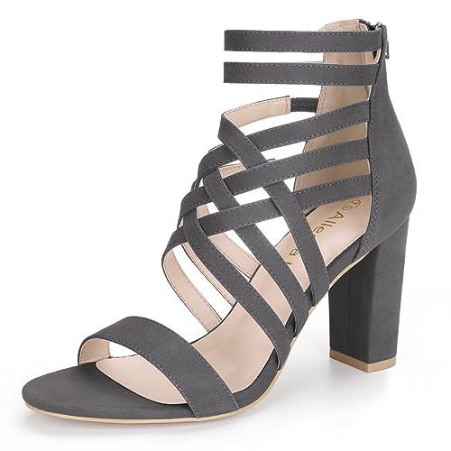 ac22c60d7 Allegra K Women Open Toe Block Heel Crisscross Strappy Sandals