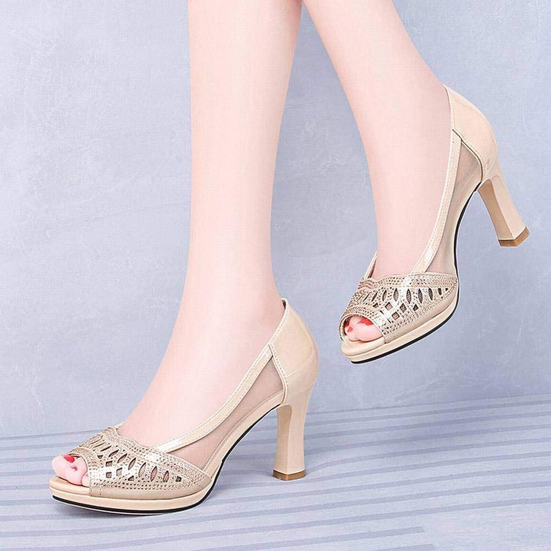 LTN Ltd - sandals Mesh Atmungsaktiv Fischmaul Weiblichen High Heel Sandalen Weiblichen Sommer Dicken Boden Damenschuhe, Gold, 36