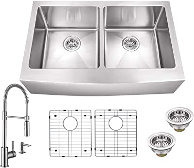 Soleil SSAP5050SP7556 32-7/8-in x 20-3/4-in 50/50 Double Bowl Apron Front Farmhouse Tiny Radius Kitchen Sink with Pull Down Faucet and Soap Dispenser in Brushed Nickel