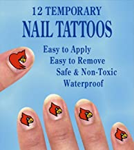 LOUISVILLE CARDINALS NAIL DECALS-LOUISVILLE TATTOOS FOR NAILS-12 PACK