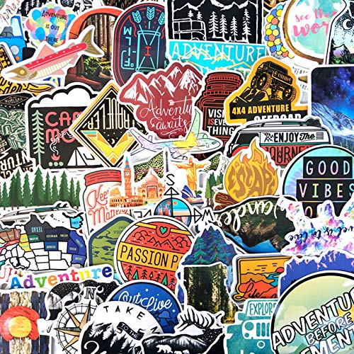 ZXY 65Pcs Hiking Travel Stickers Adventure Outdoor Wildness Landscape Waterproof PVC Decal for Car Laptop Suitcase Children Toys F3