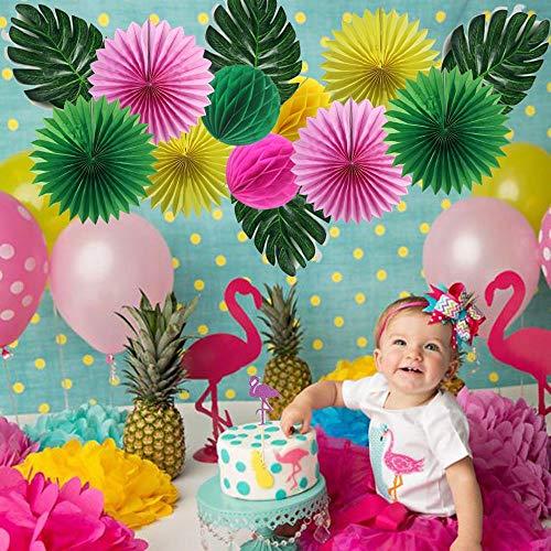 Decoraciones Fiesta 15 Piezas Flamingo Fiesta Temática Fiesta De Cumpleaños Cake Topper Garland Hojas De Palma Nido De Abeja Bolas De Piña Ventiladores Decoración Hawaiana