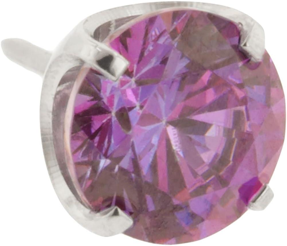 Steel Navel Body Jewelry Threadless Titanium Prong-Set Faceted Gem End: 18g High Polish, Gem: 4mm, Fancy Purple Gem