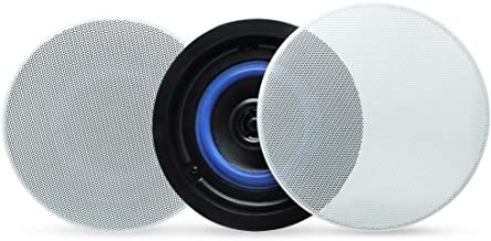 Herdio 4 Inches Flush Mount 2 Way Full Range Stereo in Wall Ceiling Bluetooth Speakers,Perfect for Humid Indoor Outdoor Placement Bath, Kitchen,Bedroom,Covered Porches A Pair