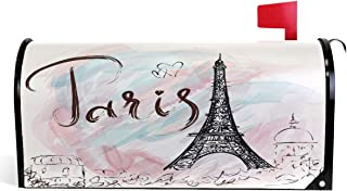 Wamika Eiffel Tower Mailbox Covers Magnetic Romantic France Paris Mailbox Cover Mailbox Wraps Post Letter Box Cover Garden Decor Standard Size 18