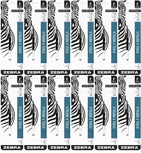 12 PACK: Zebra Pen F-Refill 0.7mm Black 1 per pack - Zebra Pen 85511