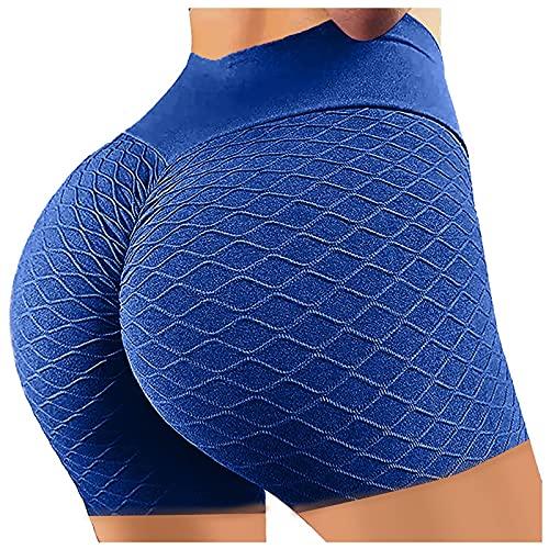 Pantalones Cortos Deportivos de Color Sólido para Mujer Shorts de Deporte Push Up Leggins de Cintura Alta Damas Mallas de Yoga Leggings Transpirables Elásticos Ideal para Correr Gym Fitness