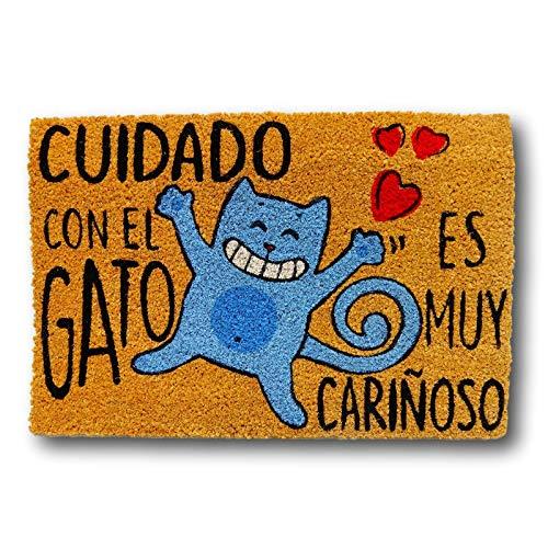 Felpudo para Entrada de Casa Cuidado Gato, Fibra de Coco y PVC, 40x60cm