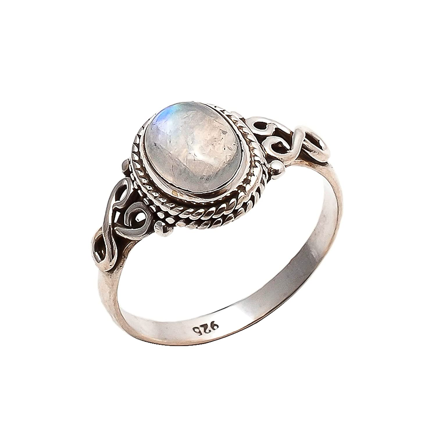shop Rainbow Topics on TV Moonstone Ring 925 Sterling Statement Silver Wo For