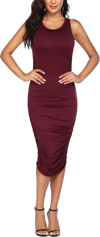 ELESOL Women's Sexy Ruched Bodycon Dress Sleeveless Midi Tank Dress S-XXXL