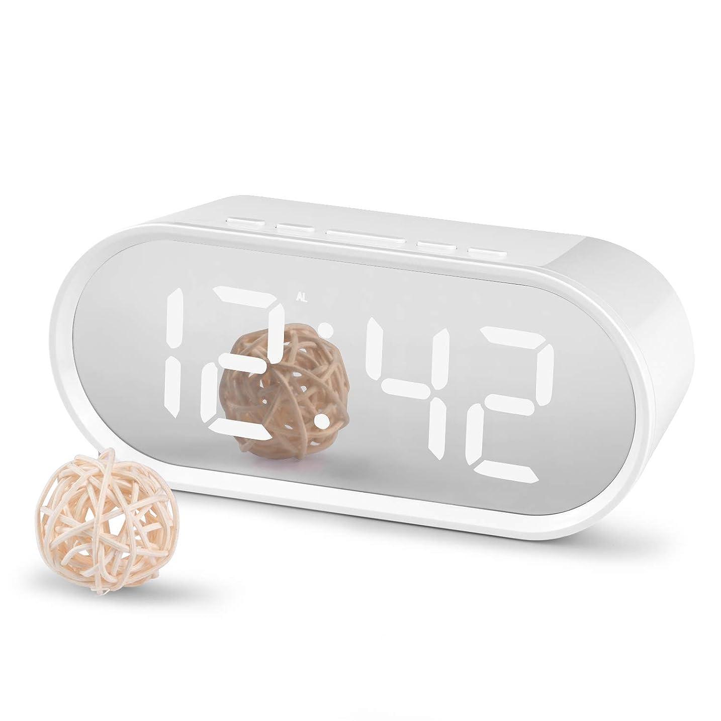 代替お勧めトークン置き時計 デジタル時計 目覚まし時計 クロック ミラー機能 LED大画面 温度湿度計 卓上時計 ベッドサイドクロック USB/電池給電 大音量 多機能