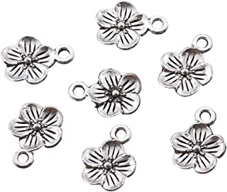Findings N888 H902 16x18mm 2 Antique Silver Plated Brass Flower Charm Earrings With 1 Loop Pendants Silver Flower Charm