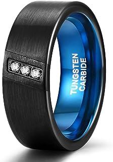 TRUMIUM 8 مم أربطة زفاف للرجال مكعب زركونيا التنغستن خواتم ثلاثة أحجار الماس قطرية فضي/أسود أزرق حجم 7-13