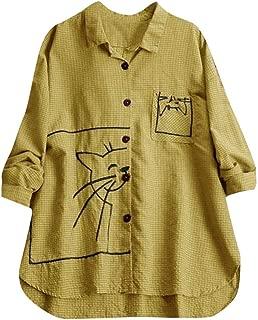 Women Loose Tops Long Sleeve,Plus Size Embroidery Casual Half Sleeves Shirt Lapel Tees V Neck Tunic Blouse Sweatshirt