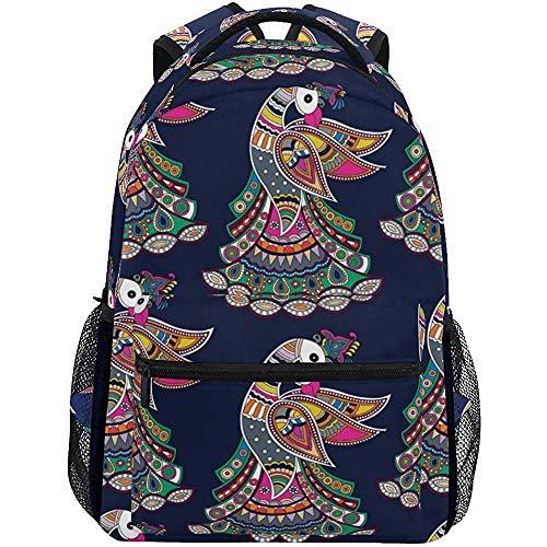 Beating Heart Peacock Art Allover Design Pattern Leichte Schulrucksack Studenten College Bag Travel Wandern Camping Taschen Casual Rucksack