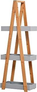 HOMCOM Etagère en Bambou de Salle de Bain étagère Debout 3 paniers dim. 30L x 18l x 81H cm Bambou MDF Gris