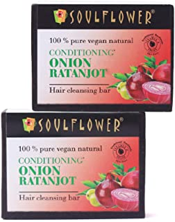 Soulflower Conditioning Onion Ratanjot Hair Shampoo Bar, Made with Goodness of Keratin Rich Sulphur, Clean and Healthy Hai...