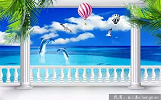 Wall Mural 3D Dolphin Hot Air Balloon Coconut Tree with Sea View Custom Wallpaper 3D Effect Large Mural Wall Murals Home Decor