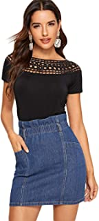 Women's Short Sleeve Round Neck Hollow Out Crochet Insert Fitted Cotton Blouse Top