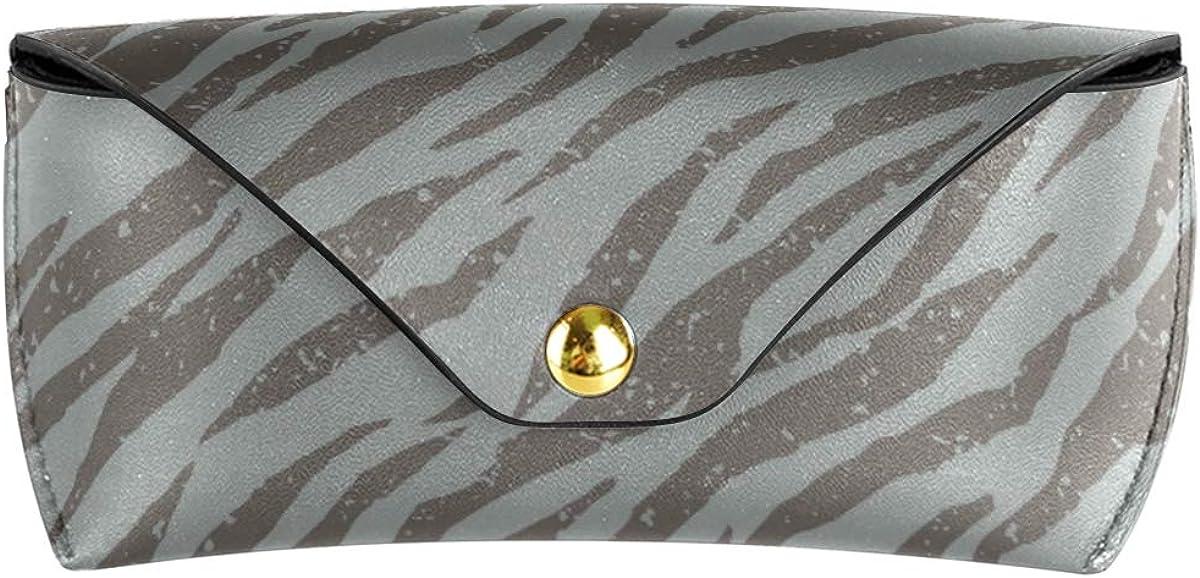 MNSRUU Portable Leather Glasses Case,Durable Soft Sunglasses Pouch Slim Case for Women Men Horizontal Eyeglass Case, Zebra Tiger Stripes Grunge