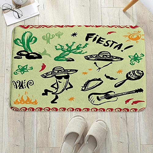Alfombrilla de baño antideslizante, para baño o ducha,Decoraciones mexicanas, objetos hispanos populares con Fiesta , alfombra de suelo absorbente, para sala de estar, sofá, cojín, caucho, 60 x 100 cm