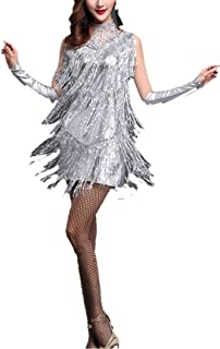 5d7e19828ec Whitewed V Neck 1920s Sequin Fringe Charleston Flapper Dance Dresses  Costumes