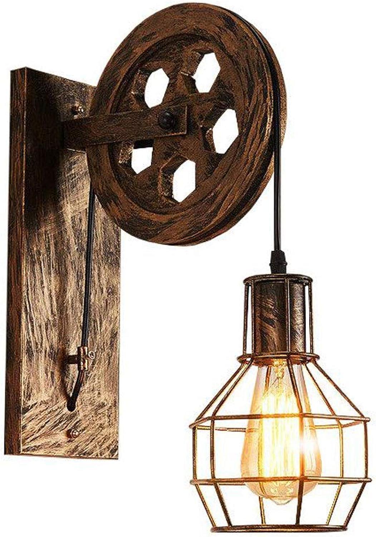 ZHANG NAN ● Retro Pulley Wandleuchte, LOFT Creative Wandleuchte, Restaurant-Balkon-Flur-Shop-Designlampe, Eisen (Farbe  Rost) ●