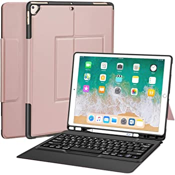 """iPad Pro 12.9 Case with Keyboard for ipad pro 12.9"""" 2015/2017, Ultra-Thin PU Leather Silicon Rugged Shock Keyboard Stand Case with Pencil Holder (Not Fit for 2018 New ipad)-Rose Gold"""