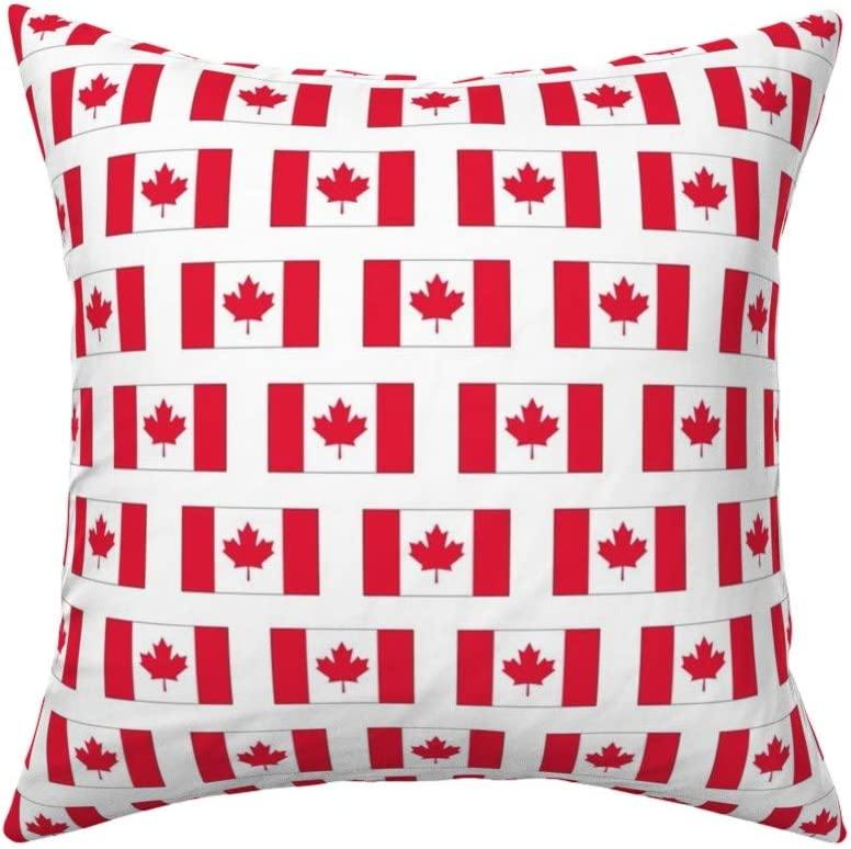 Roostery Throw Pillow Canadian Flag Red Canada Maple Leaf North America Toronto Nation Print Linen Cotton Canvas Knife Edge Accent Pillow 18in X 18in Optional Insert Home Kitchen