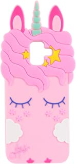 Pink Horse Case for Samsung Galaxy J6 2018,Cartoon Soft Silicone Cute 3D Cool Cover,Kawaii Unique Kids Girls Teens Animal Pink Horse Character Cases for Galaxy J6 2018