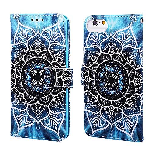 Nadoli Leder Hülle für iPhone SE 2020,Bunt Mandala Blumen Malerei Ultra Dünne Magnetverschluss Standfunktion Handyhülle Tasche Brieftasche Etui Schutzhülle