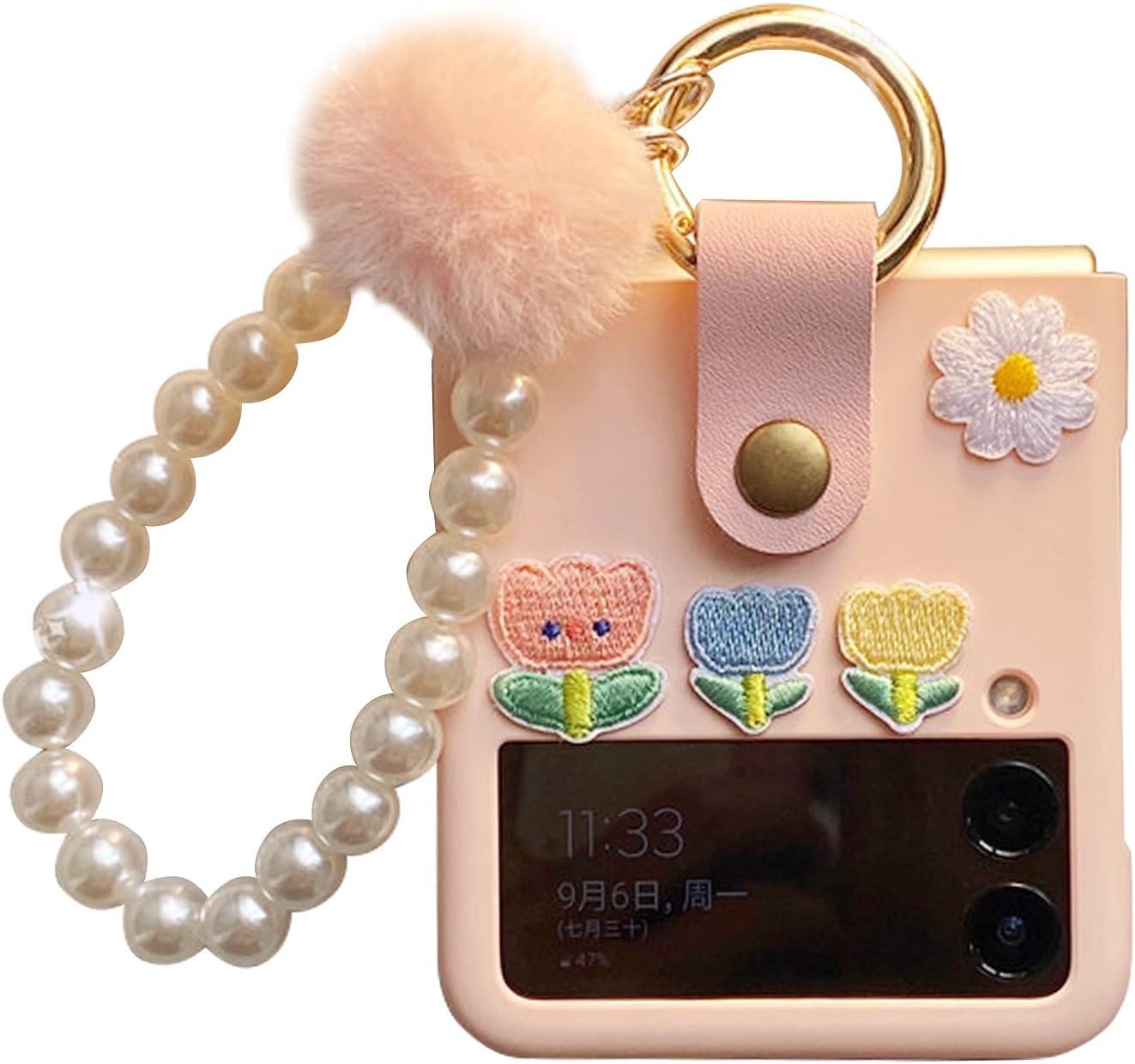 Samsung Galaxy Z Flip 3 Case, Cute Galaxy Z Flip 3 Pink Case with Ring & Shockproof Non-Slip Protective Designed for Samsung Z Flip 3 5G Case 2021