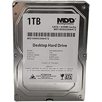 MaxDigitalData (MD1000GSA6472) 1TB 64MB Cache 7200RPM SATA 6.0Gb/s 3.5in Internal Desktop Hard Drive