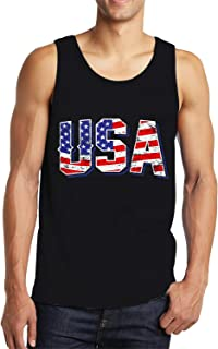 Idgreatim Men's Casual Cotton Front Print Sleeveless Tank Tops Muscle Tees